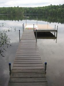 dock with swim float in background