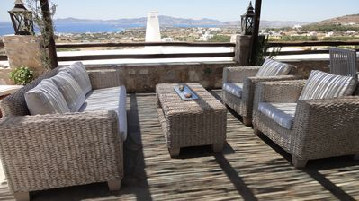 Paros villa rental - Relax Area Bottom Terrace