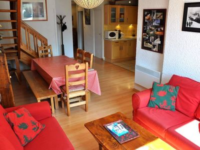 Magnificent apartment of 3/4 rooms, accommodated for 8 pers, 83 m² quality label 3 ***, 2 shower-rooms, 2 separate toilets, centre 2 Alpes, close of ski tracks and cable