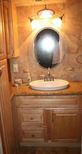 Beautiful marble and granite bathroom.