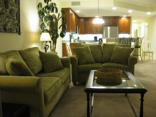 Belmont Towers Ocean City condo photo - View of Sofas through to Kitchen