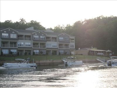 Northlake Condo Club complex from the lake, boat slip and ramp on property