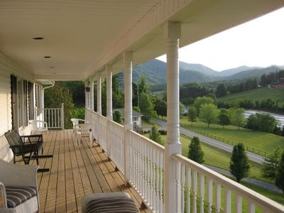 Amazing Panoramic views of the Smokey Mountains from our wrap around deck