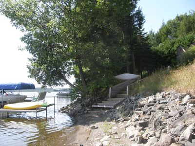 Steps down to lake - or swim off the dock