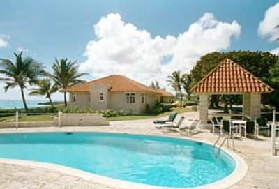 Large swimming pool and shaded gazebo