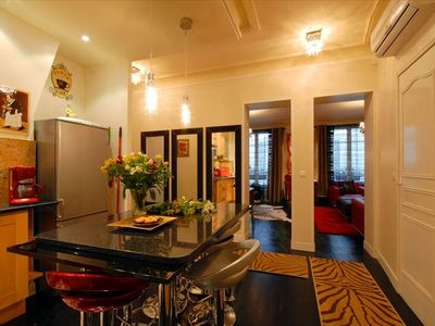 8th Arrondissement Champs Elysees apartment rental - From Entry Way - Kitchen and to Salon