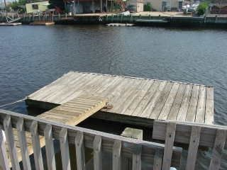 Tuckerton - Little Egg Harbor house photo - Floating Dock in Rear of Bungalow on Deep-water Lagoon