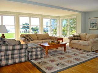 Bethany Beach house photo - The living room has a large screen TV, fireplace and a beautiful bay view.
