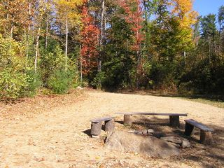 Newfound Lake house photo - Fire ring in the yard during the Fall
