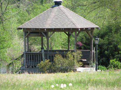 Gazebo with 75 ft. dock on 7 acre pond full of black bass