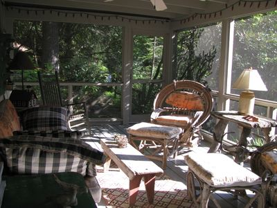 Screened porch with waterfall just steps away