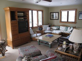Pentwater cottage photo - Main floor living area. Sliders to huge deck.