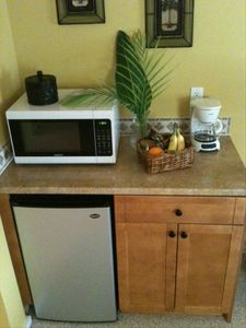 kitchenette: microwave, coffee maker, toaster, hot plate and utencils