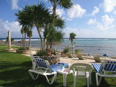 Your view from our private beach loungers!