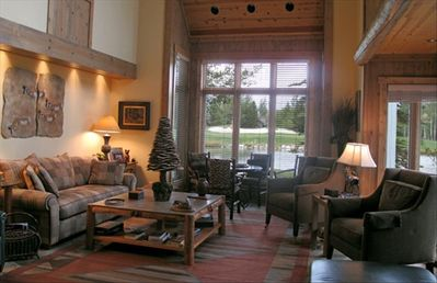 Living room facing The Grand and #16 pond and green
