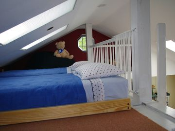 Loft has two, low twin trundle beds for older children who like their own space.