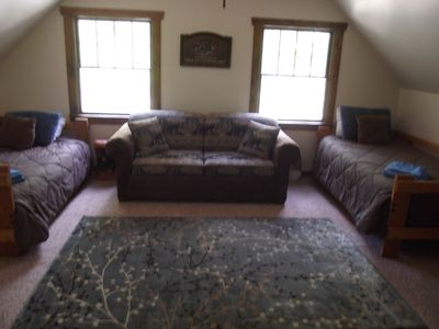 Loft with two twin beds and sofa bed. Also a cot available