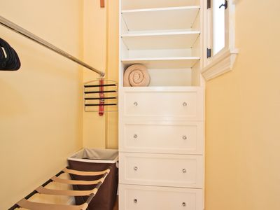 Walk-in closet with built in dresser