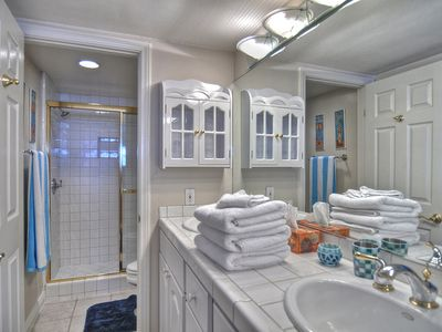 Master bath with shower in Masterbedroom..