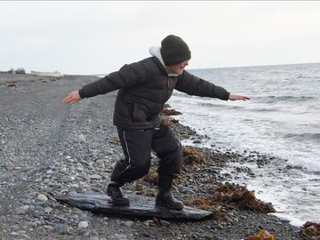 Great find while beach combing---alaskan surfing with coal!