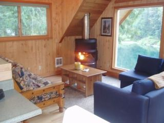 Stevens Pass cabin photo - Enjoy the wood burning fireplace, and observe river wildlife up close