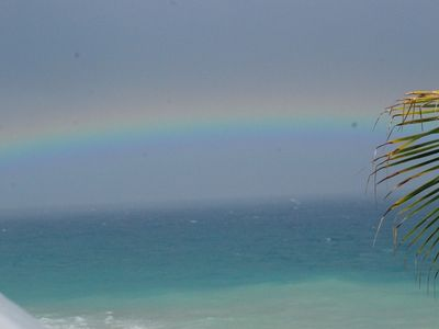 Rainbows over the Caribbean as seen from the Villa
