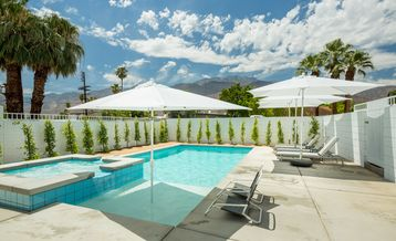 Palm Springs house rental - heated saltwater pool with spillover spa