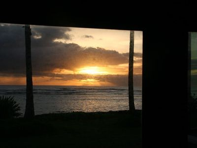 Hauula house rental - View of the sunrise from the master bedroom