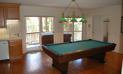 Game room with pool table, wet bar, refrigerator and TV
