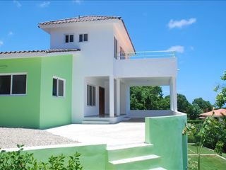 Sosua villa photo - Villa from Sea Side - 2 x Ocean View Terraces and Stairs to Tropical Gardens.