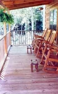 Brevard cabin rental - Huge front porch with rockers
