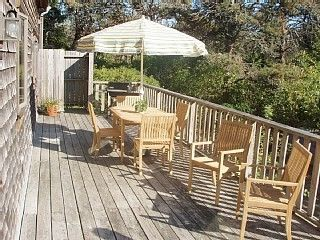 Surfside Nantucket house photo - Private and sunny back deck with outdoor shower