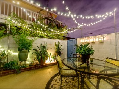 Gorgeous patio with perfect night lighting on switch system.