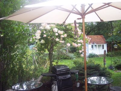 Patio umbrella, grill and back yard