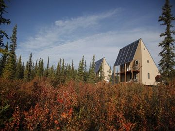 Fairbanks cabin rental - Bright fall colors (September) surround the solar
