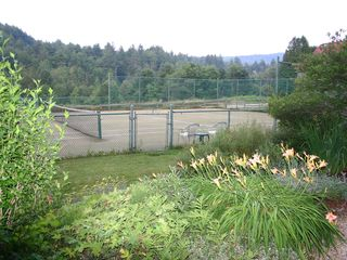 Ludlow house photo - Early morning tennis surrounded by mountains, stream and serenity.