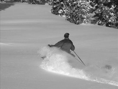 My Father visiting the condo, first tracks on a powder day
