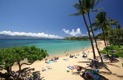 You walk out our unit onto to Napili Bay Beach. Superb snorkeling!