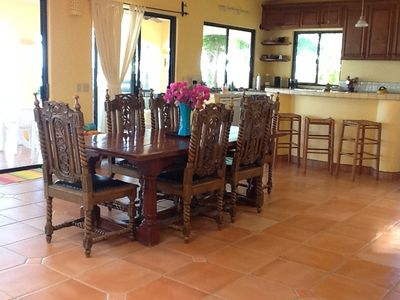 Dining and kitchen area at Casa de Las Palmas