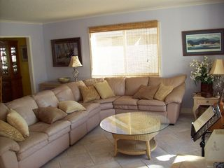 Huntington Beach house photo - Living Room with sectional leather couch