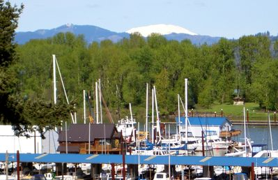 View of Marina and Mt. St. Helens from deck