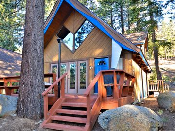 Incline Village cabin rental - Chalet Exterior - Vacation chalet with a bright personality and outdoor space under the pines.