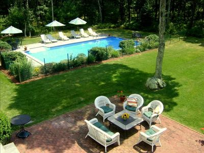 Back Patio with Spacious Lawn, Gardens, Heated Pool and Total Privacy