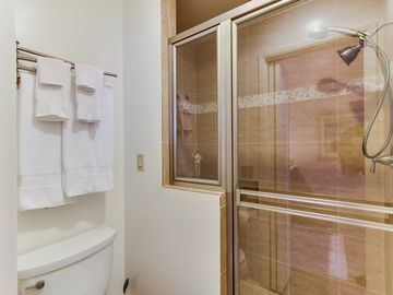 New, big, clean shower in the master with dual shower heads.