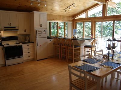 Kitchen & Dining area, overlooking the lake