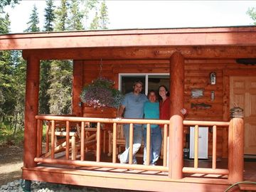 Soldotna cabin rental - some of the family injoying the porch