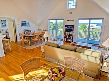 Second Floor Great Room Has Vaulted Ceiling & Sliding Doors To Ocean View Deck