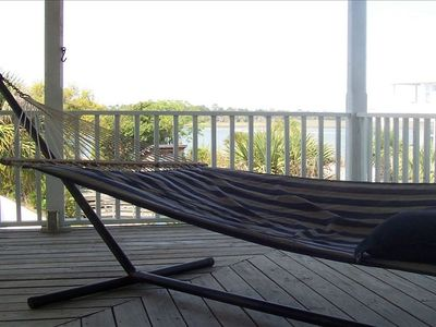Enjoy views of the Back River while relaxing in the upstairs hammock
