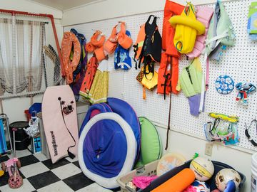 Pack light! We have plenty of pool toys, life jackets, beach gear and more.