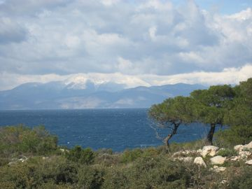 View over Loutraki from the Gerania Mountains of t